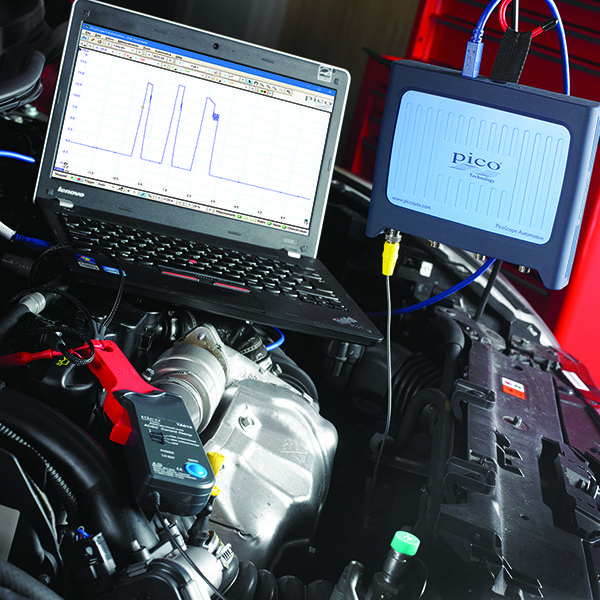 PicoScope and current clamp in use