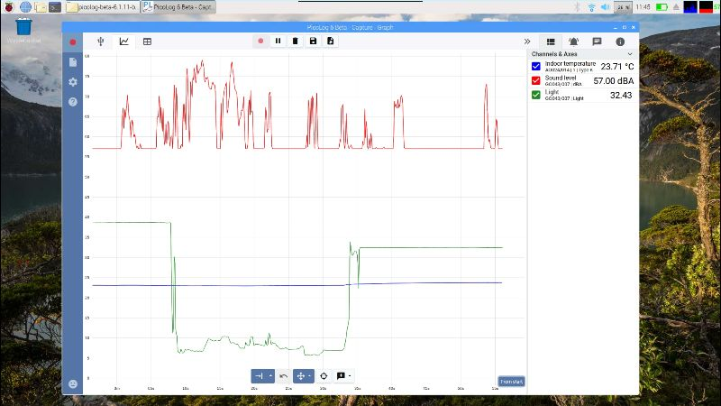 Data from a TC-08 and a DrDAQ, captured using PicoLog 6.1.11 Beta on a Raspberry Pi.