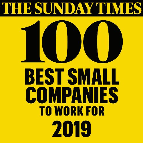 We are one of the Sunday Times 100 best small companies to work for 2019