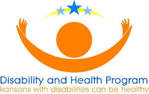 """Logo: Disability and Health Program. """"Kansas with disabilities can be healthy."""""""