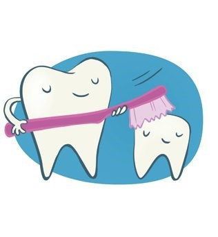 Graphic: Cartoon drawing of a large tooth brushing a smaller tooth with a toothbrush. Both teeth are smiling.