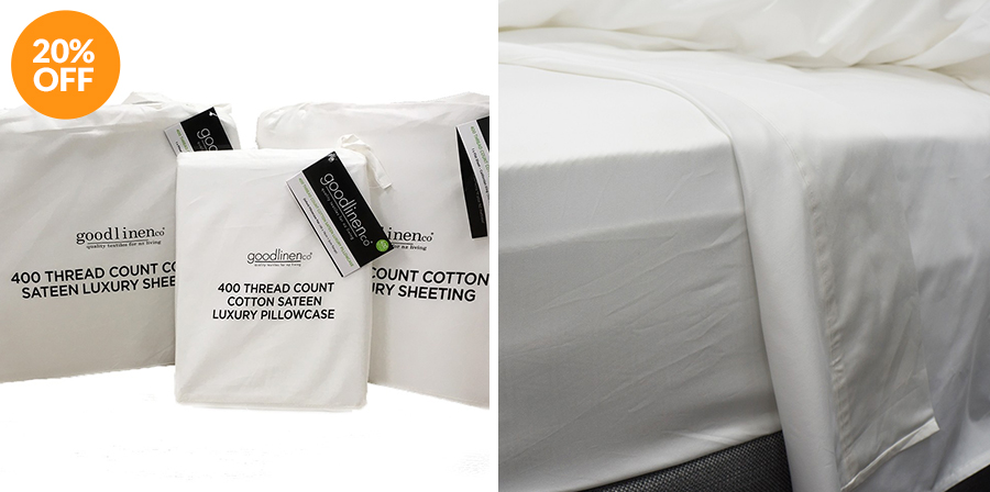 400 Thread Count 100% Cotton Sateen Luxury Sheeting by Good Linen Co®