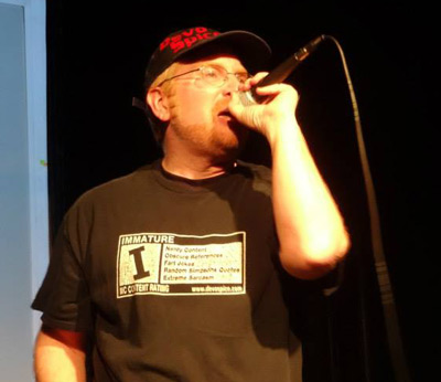 Devo performing in the shirt