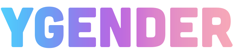 The word 'Ygender' in thick, rounded letters. The letters are coloured in a gradient, shifting from sky blue to purple to light pink.