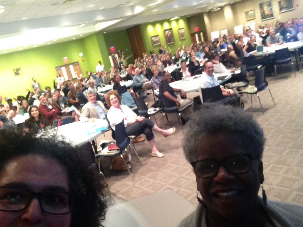 NAMA Director Niaz Dorry and CT State Senator Marilyn Moore selfie with 2016 Summit Delegates in the background