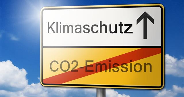 Verkehrsschild: Klimaschutz rauf, keine CO2-Emissionen