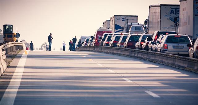Autostau auf der Autobahn