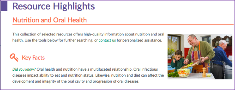 Resource Highlights: Nutrition and Oral Health