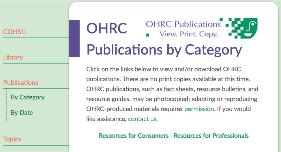 OHRC publications page