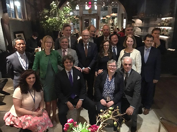 UN Mission Ambassadors and High Level Representatives and OutRight's Executive Directer Jessica Stern at the UN LGBTI Core Group Ambassador's Dinner. (Photo: Siri May)