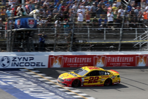 Joey Logano, driver of Team Penske's No. 22 car punched his ticket to The Chase by winning in team owner Roger Penske and Ford Performance's backyard at the Michigan 400. #NASCAR