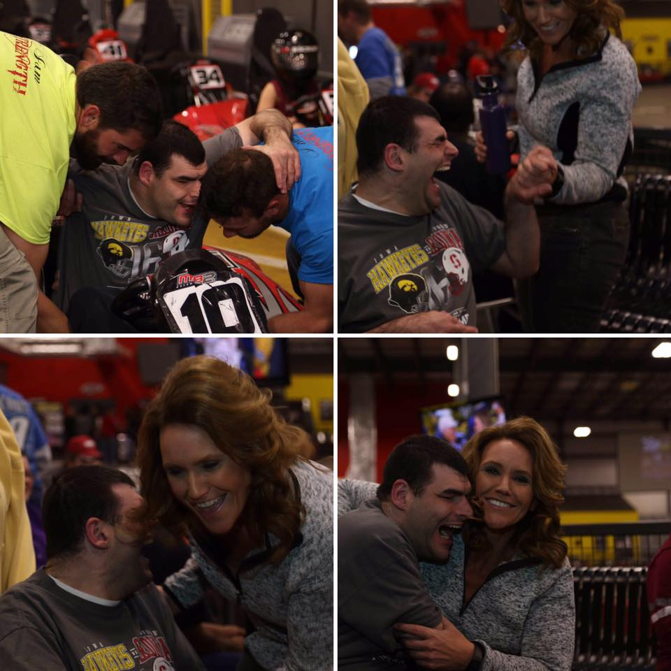4 pictures of a man being supported by others as he drives a go-cart!