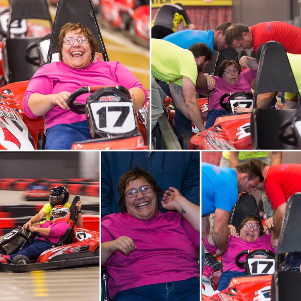 5 small pictures of a women driving a go-cart and smiling!