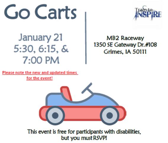 Go-Cart Invite Graphic - details below.