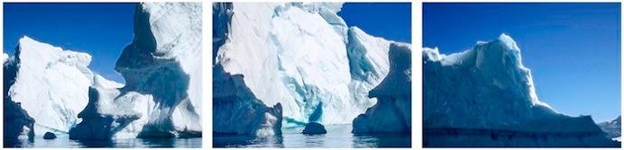 "Georgie Friedman, Iceberg Edges, Foyn Iceberg No. 1, Faux Panorama, Antarctica Series, pigmented ink print, 16"" x 52"", 2017/2019"