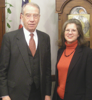 Advanced Biofuels USA executive director, Joanne Ivancic, with Senator Charles Grassley (R-Iowa) who was also ranked in the Top 100 in BioEnergy.