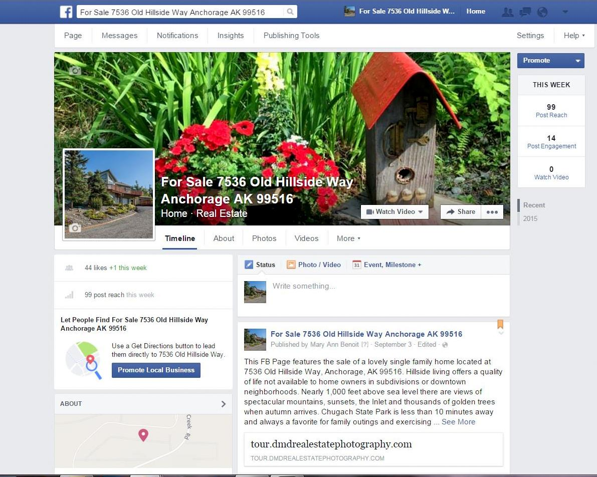 Facebook page created for the home seller by Northern Lights Home Staging and Design