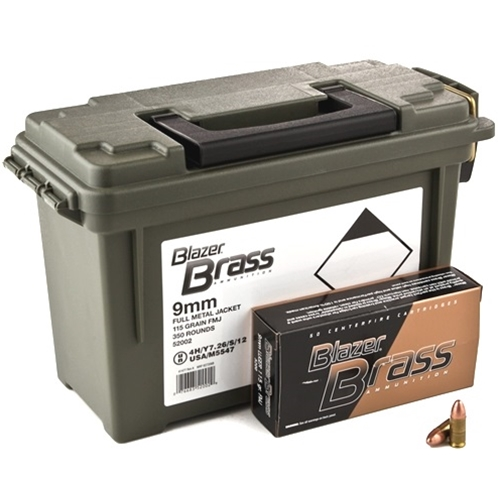 CCI Blazer Brass 9mm Luger 115 Grain FMJ 350 Rounds in Ammo Can