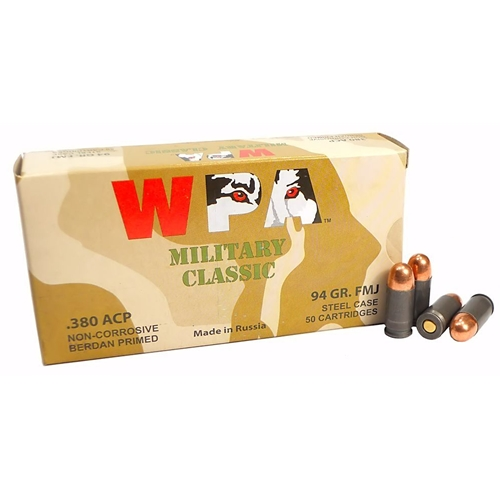 Wolf Military Classic 380 ACP AUTO Ammo 91 Grain Full Metal Jacket