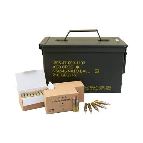 GGG 5.56mm M855 Ammo 62 Grain FMJ 1000 Rounds Bulk in Ammo Can