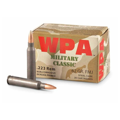 Wolf Military Classic 223 Remington Ammo 62 Grain HP Steel Case