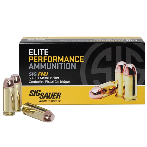 Sig Sauer Elite Performance 10mm Auto Ammo 180 Grain Full Metal Jacket