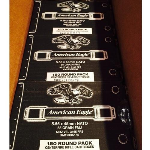 Federal American Eagle 5.56x45mm XM193 NATO Ammo 55 Grain FMJ 150 Round Pack