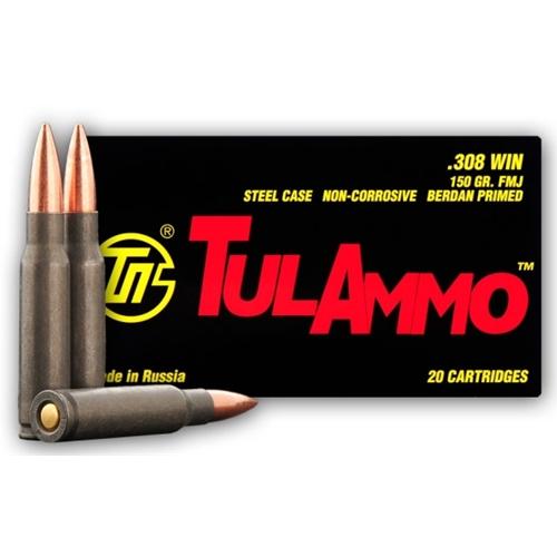 TulAmmo 308 Winchester 150 Grain FMJ Steel Case
