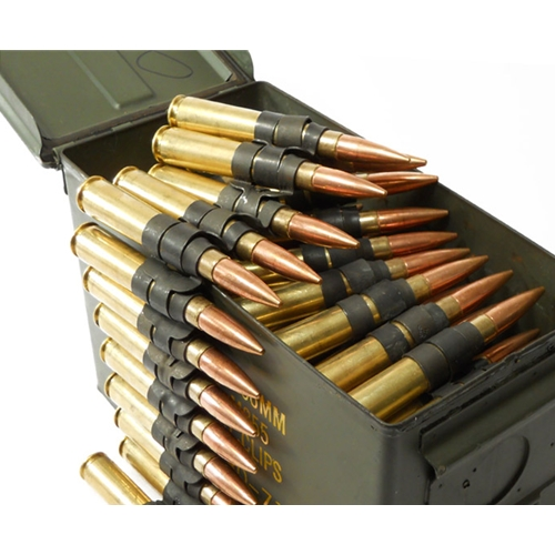 Federal Lake City 50 Cal BMG M33 Ammo 690 Grain Full Metal Jacket Linked with Ammo Can