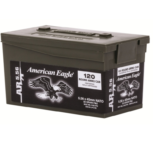Federal American Eagle 5.56mm Ammo 55 Grain FMJ 120 Rounds in Mini Ammo Can