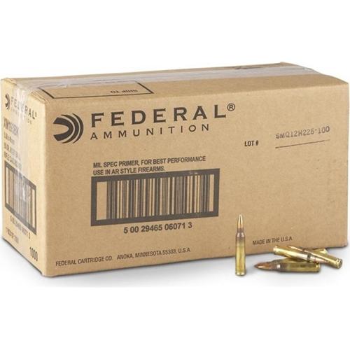 Federal Lake City 5.56mm NATO Ammo 55 Grain Full Metal Jacket 1000 Rounds Bulk