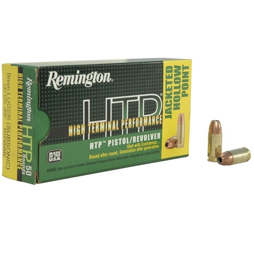 Remington HTP 9mm Luger Ammo 147 Grain Jacketed Hollow Point