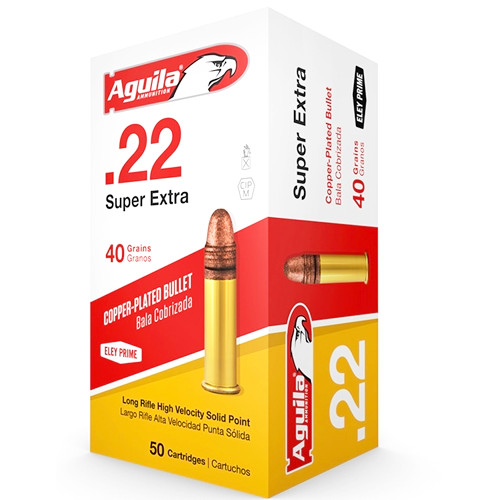 Aguila SuperExtra 22 Long Rifle Ammo 40 Grain High Velocity Plated Lead Round Nose