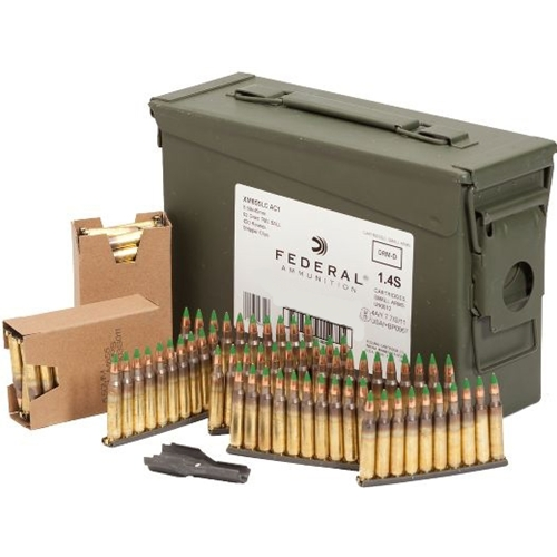 Federal Lake City 5.56x45mm NATO Ammo 62 Grain Full Metal Jacket On Stripper Clips in Ammo Can