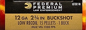 "Federal Law Enforcement Tactical 12 Gauge 2-3/4"" 1 Buckshot 15 Pellets"