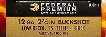 "Federal Law Enforcement Tactical 12 Gauge 2-3/4"" 1 Buckshot 15 Pellets"