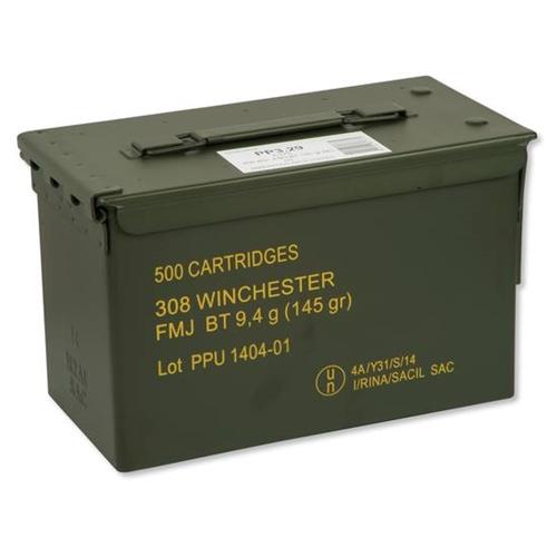 Prvi Partizan 308 Winchester Ammo 145 Grain FMJ Bulk 500 Rounds in Ammo Can