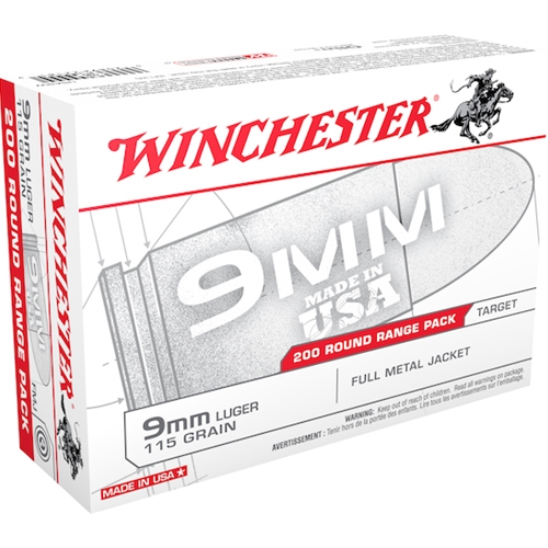 Winchester USA 9mm Ammo 115 Grain FMJ 200 Rounds Range Pack