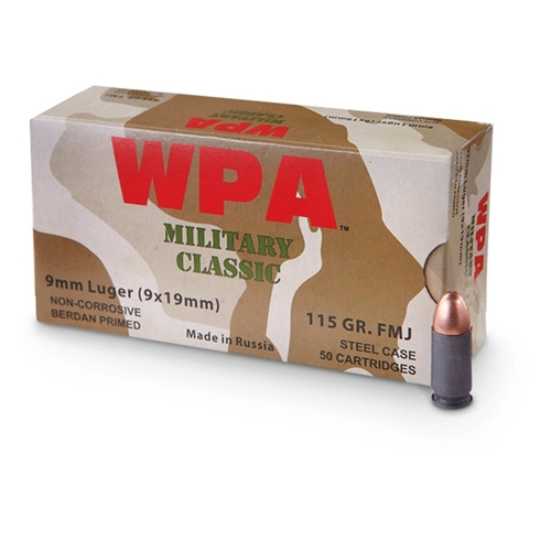Wolf Military Classic 9mm Luger Ammo 115 Grain FMJ
