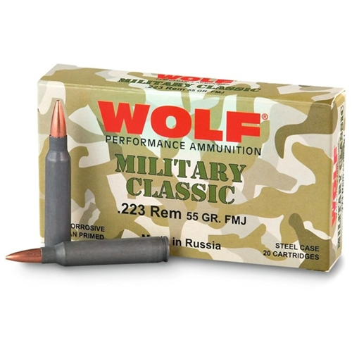Wolf Military Classic 223 Remington 55 Grain FMJ 1000 Rounds