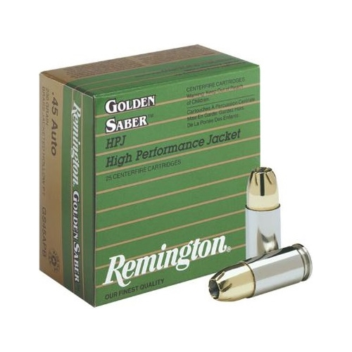 Remington Golden Saber 45 ACP Auto Ammo 230 Grain Brass JHP