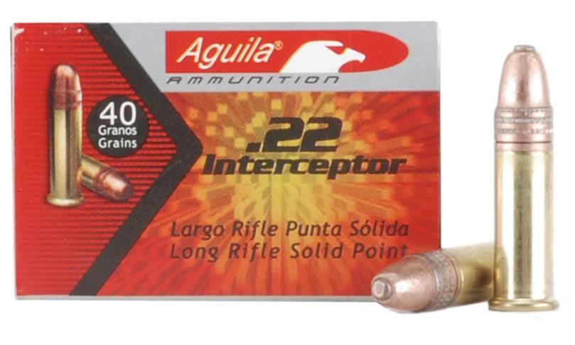 Aguila Interceptor 22 Long Rifle Ammo 40 Grain Plated Lead Round Nose