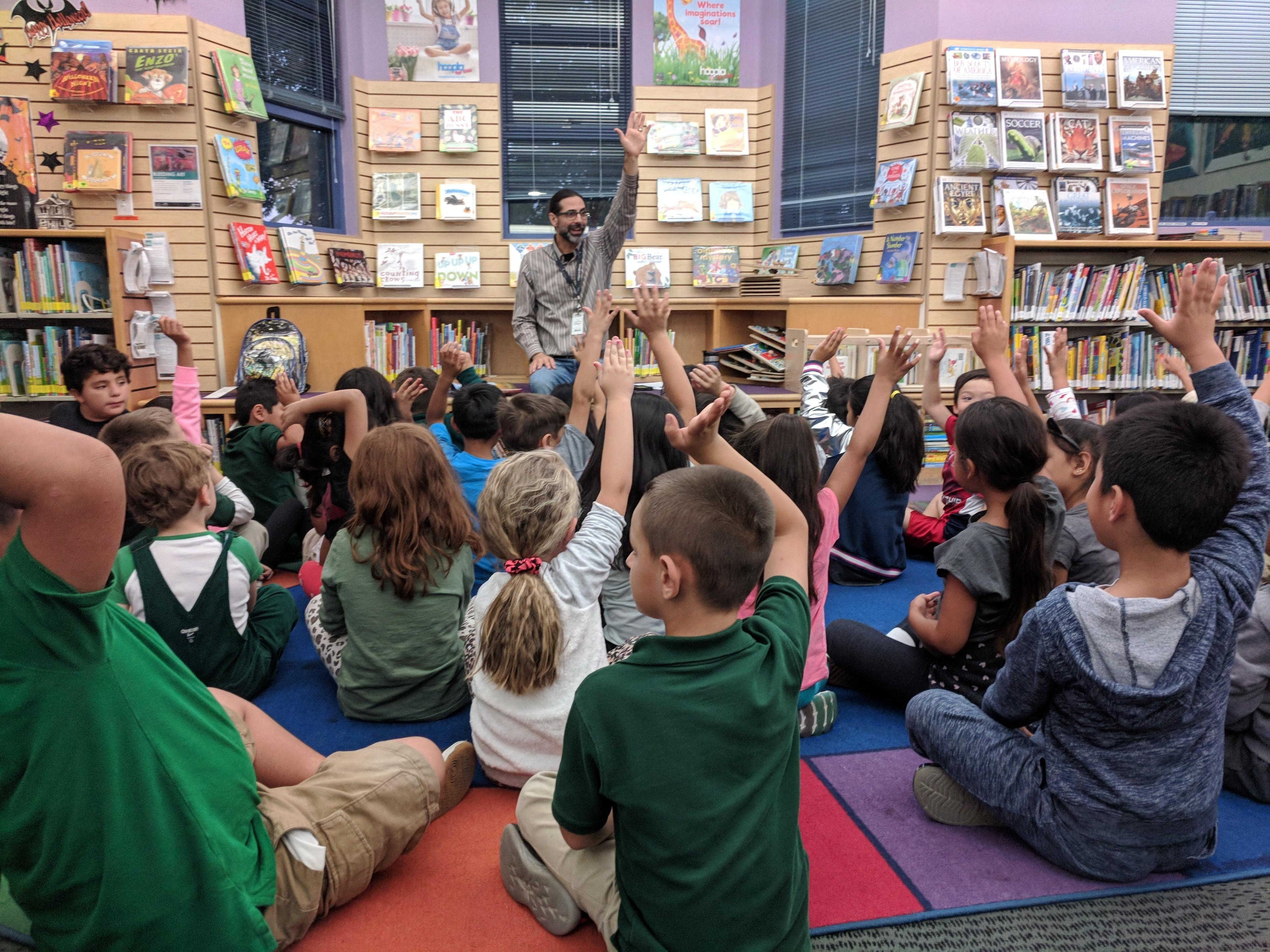 Mayne students at Alviso library