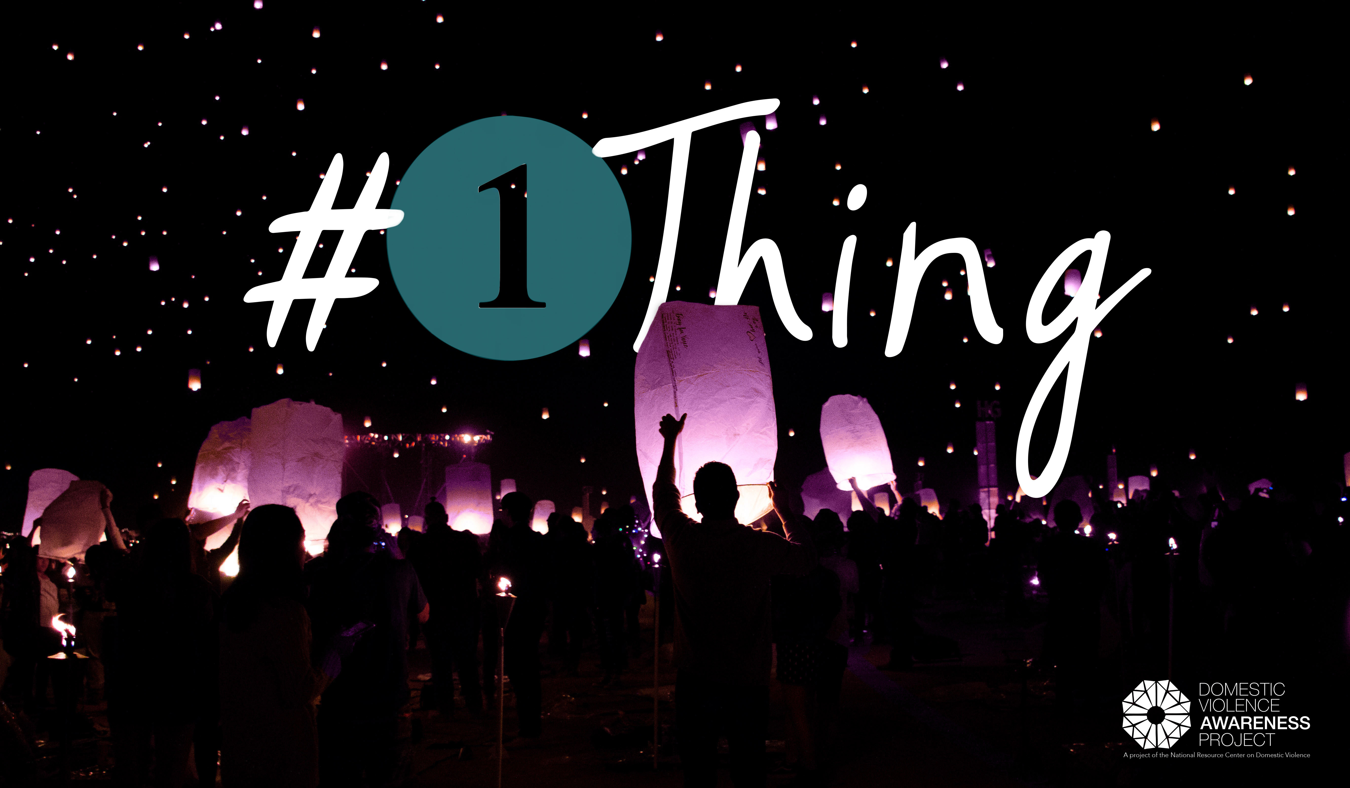 #1Thing logo over top of photo of an audience perspective looking towards a stage from a concert.