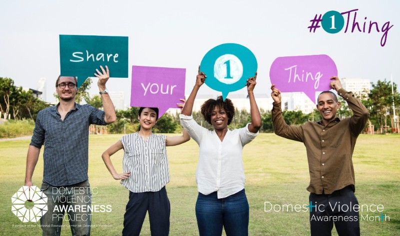 """people holding signs that read """"share your 1 thing"""""""