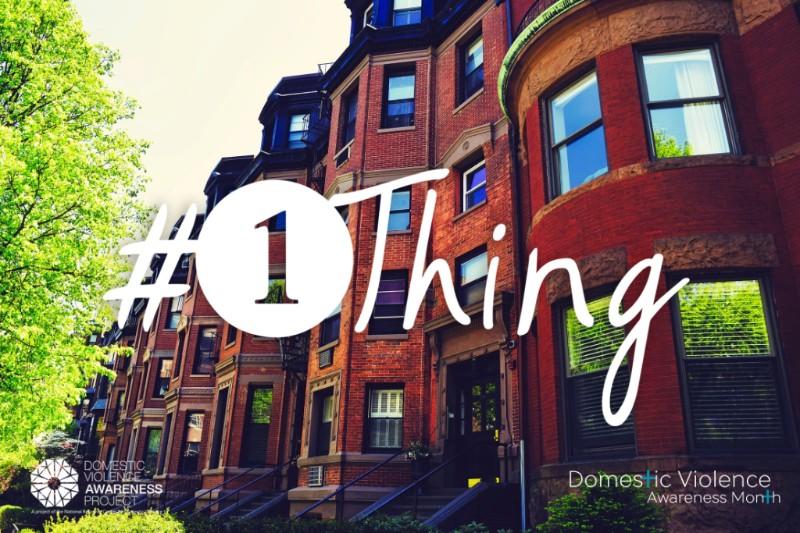 #1Thing logo over neighborhood image