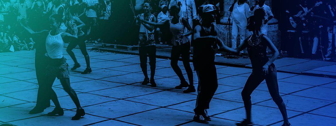 community dancing event
