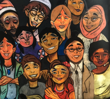 painting of smiling people