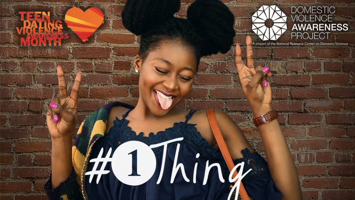 #1Thing Campaign image with young lady holding up peace signs
