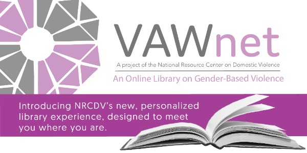 """VAWnet logo overlaid with a n open book and the words """"Introducing NRCDV's new, personalized library experience, designed to meet you where you are."""""""